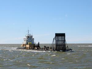The Aku heading back to the dock with a load of fuel from the line haul supply out in Kotzebue Sound